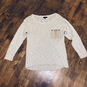 Mine brand cream sweater with leather pocket